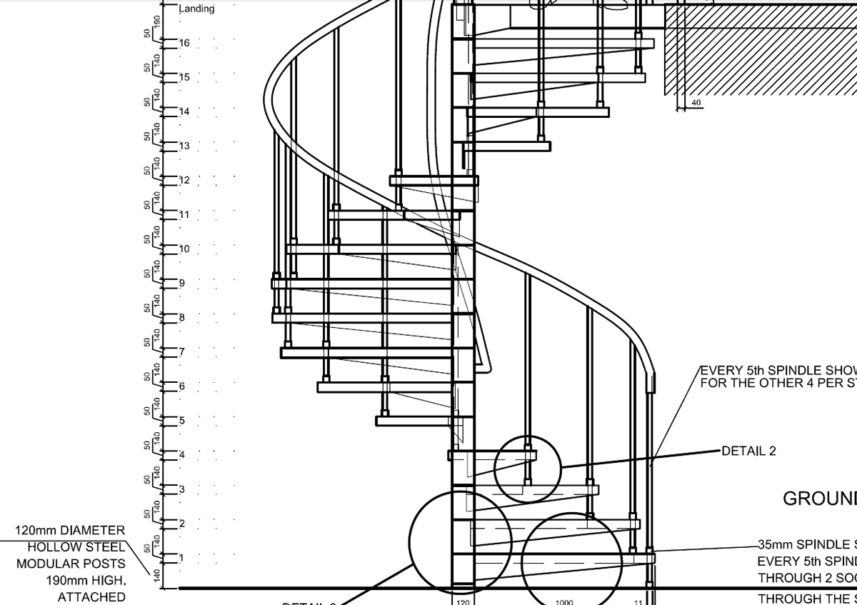 Spiral staircase detail drawings autocad on behance Spiral stair details