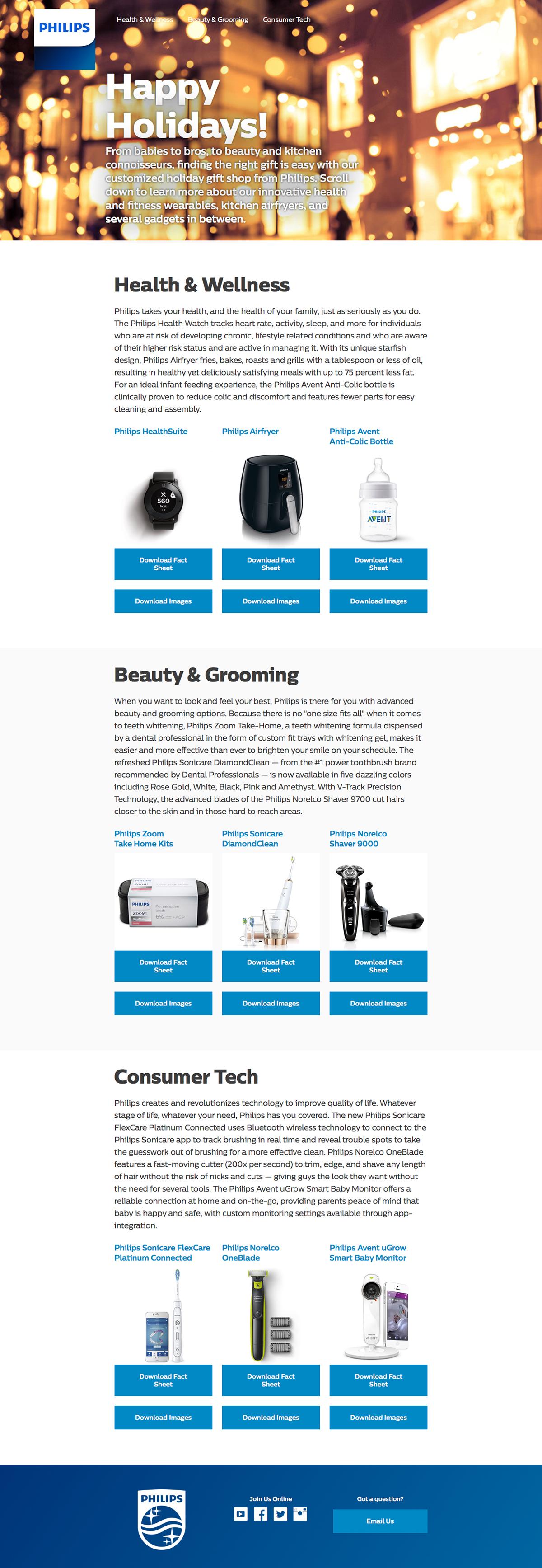 Web Design  web development  art direction  Responsive html5 css3 Philips
