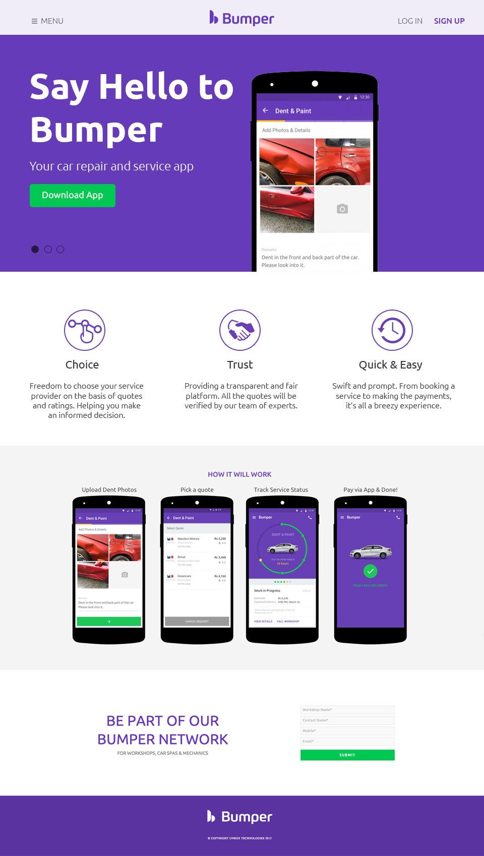 Bumper Car Repair Service App Landing Page Design On Behance
