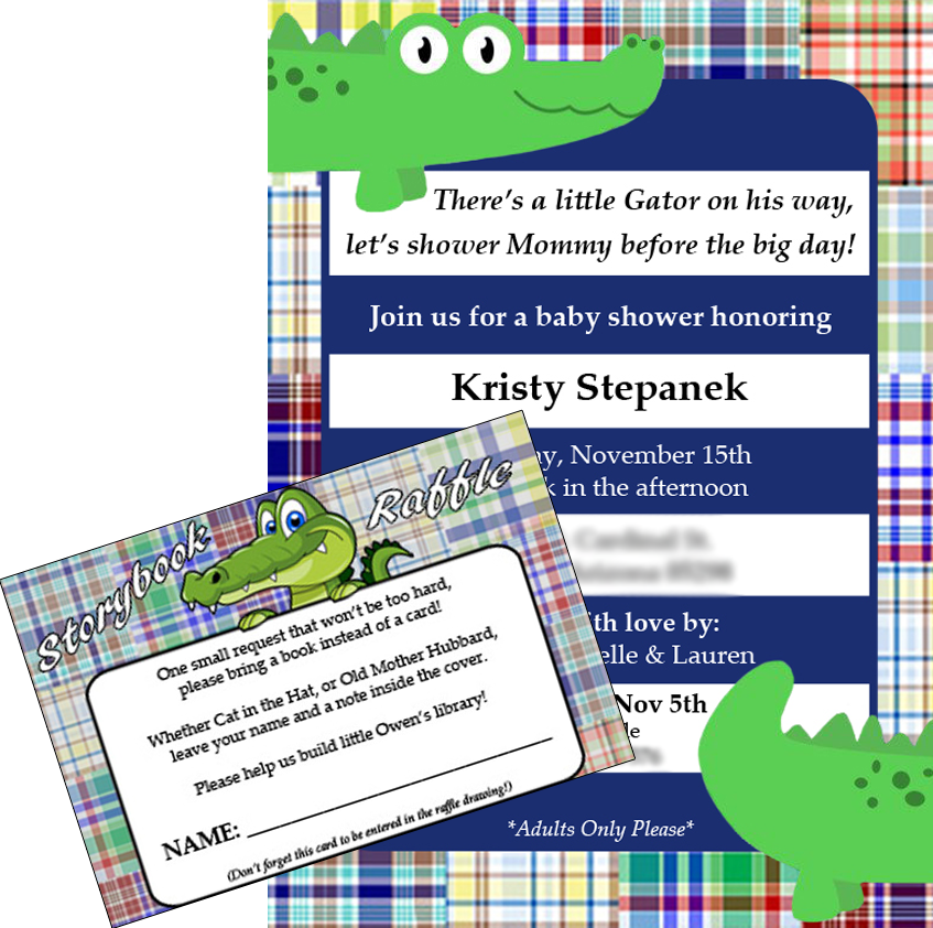 Kristys baby shower invitation on behance baby shower invitation with enclosed storybook raffle card created using adobe indesign adobe photoshop stopboris Image collections