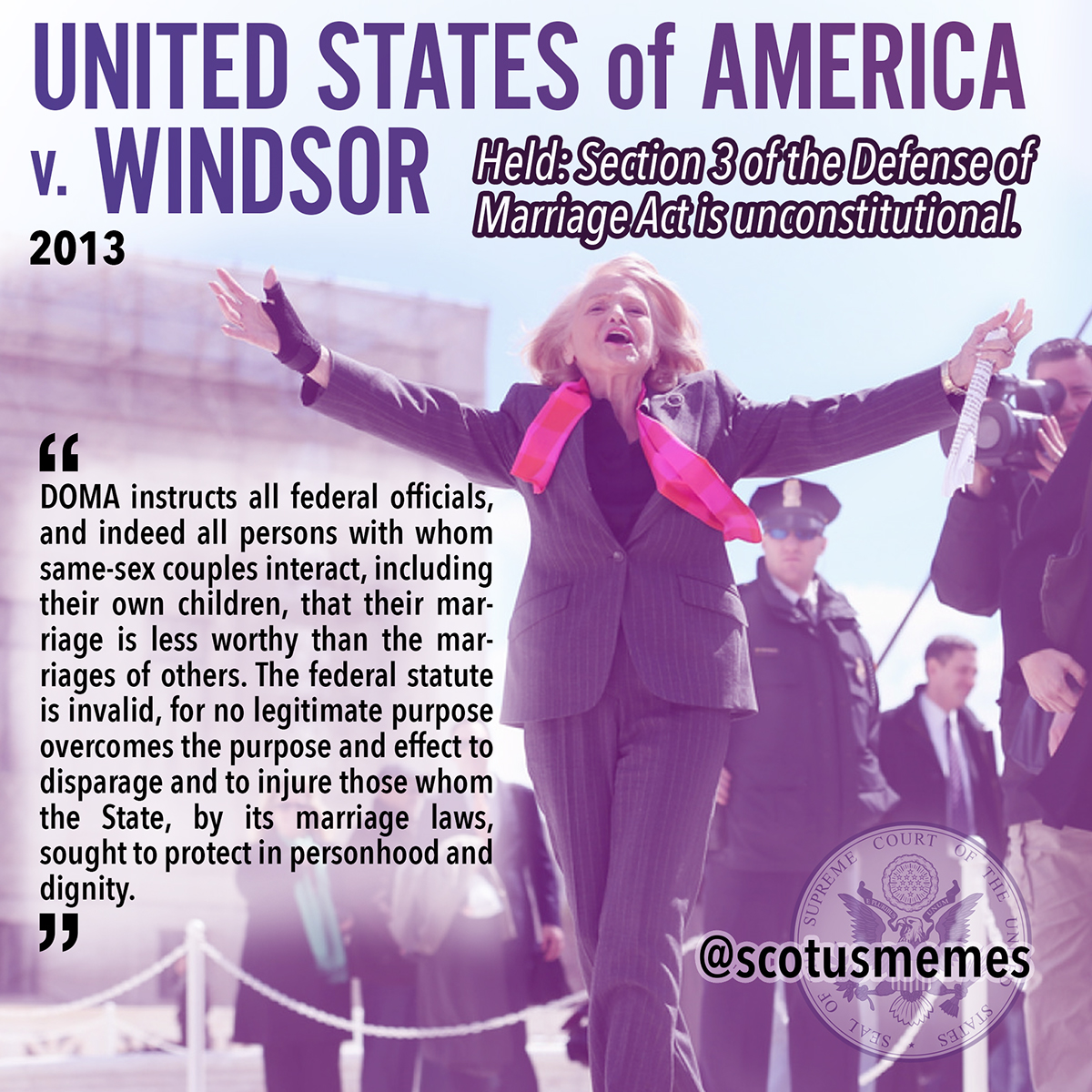 windsor vs us The state of new york recognizes the marriage of new york residents edith windsor and thea spyer, who wed in ontario, canada, in 2007 when spyer died in 2009, she.
