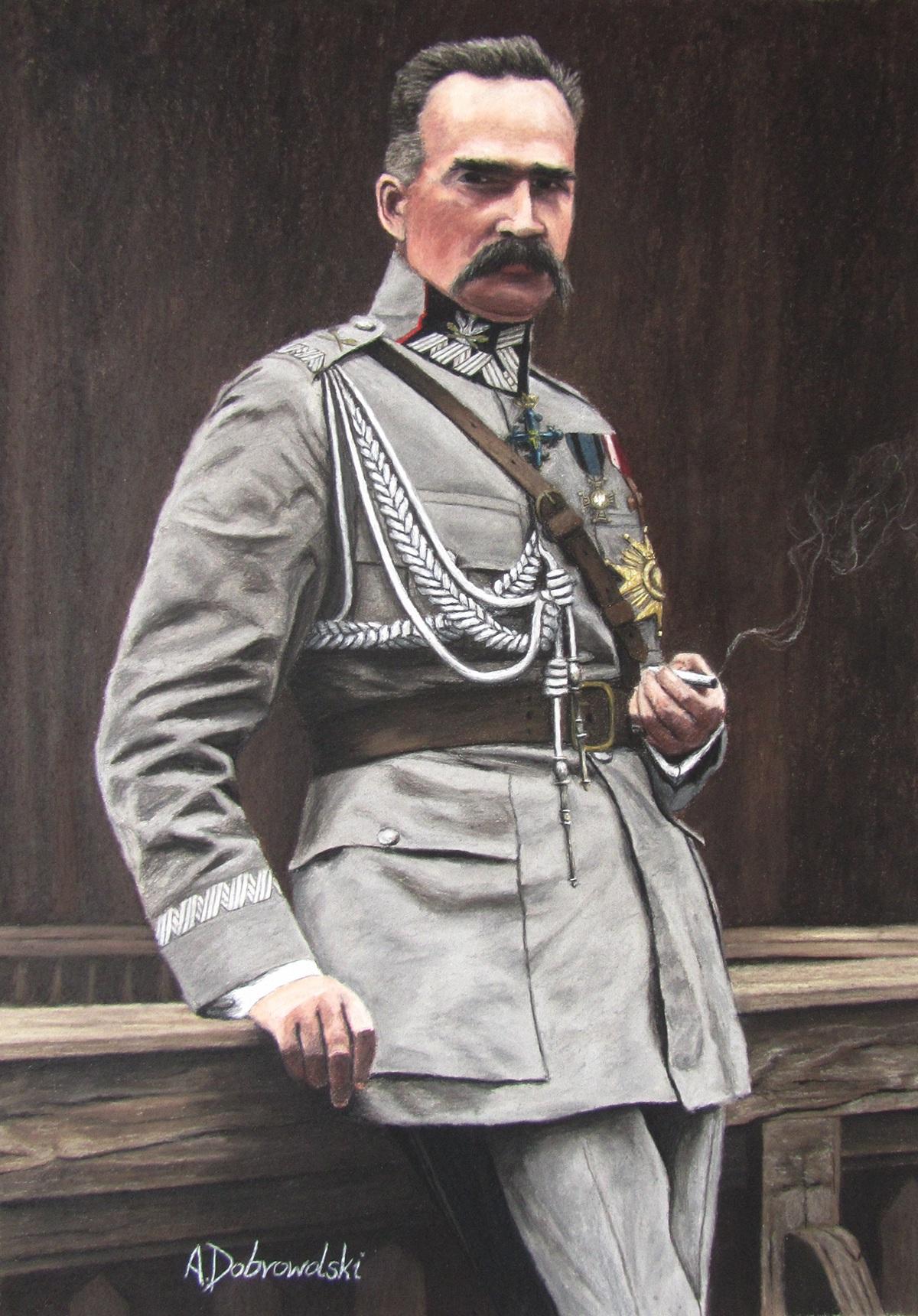 J 243 Zef Piłsudski With A Cigarette 66 X 46 Cm Pastel On