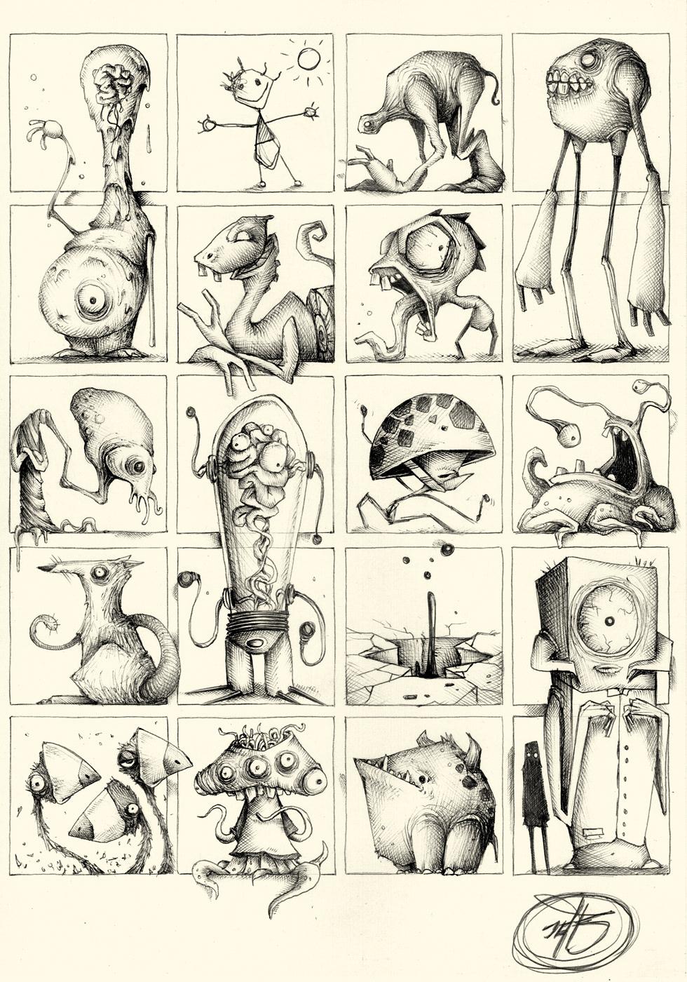 pocket monster ballpoint pen sketch concept art black & white