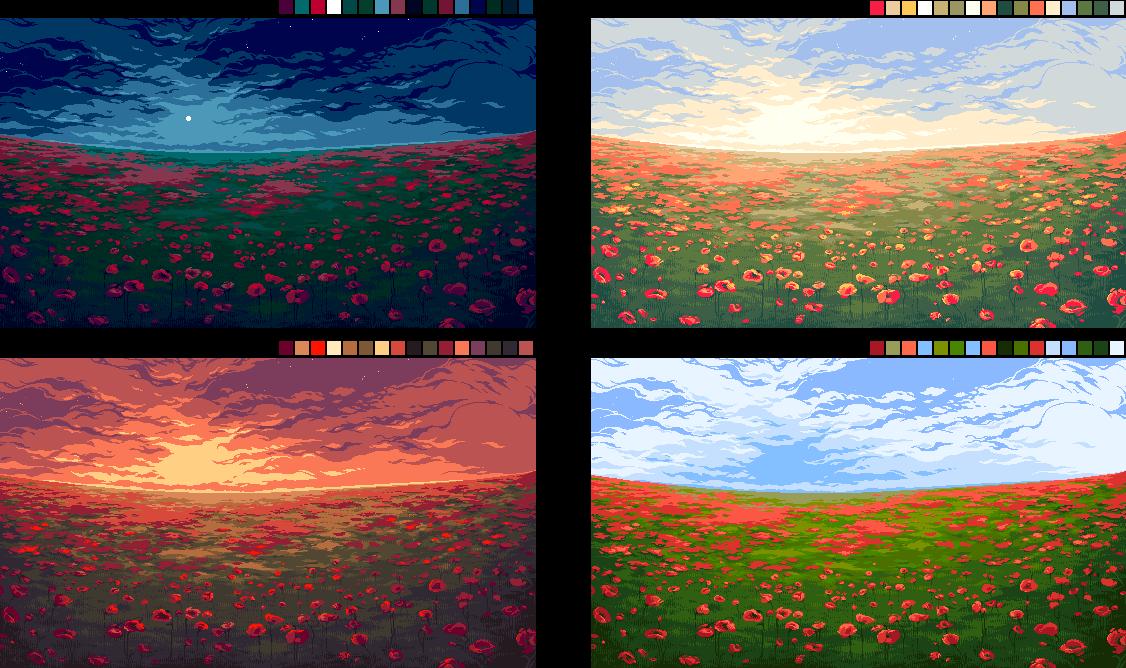 Poppy Field Pixel Art On Behance