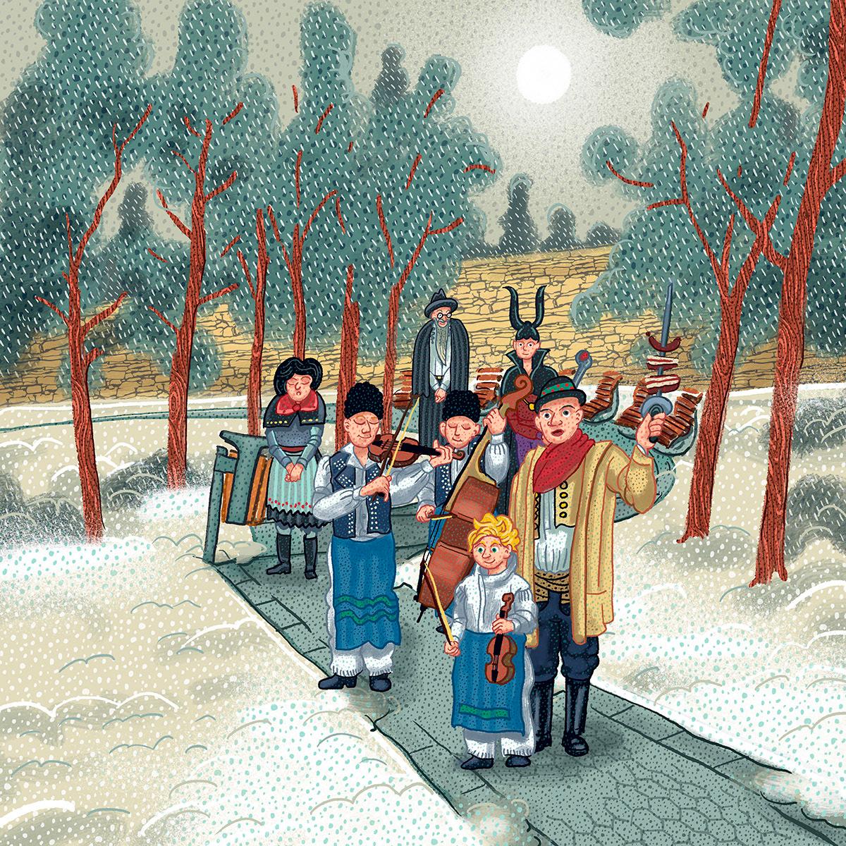 Carnival folclore folk illustration ILLUSTRATION  Moravia slovácko southern moravia