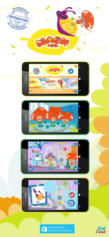 mash&co kidsapp indiegame appcampus Microsoft interactive animation crabtoon game cartoon Mash periwinkle windowsphone