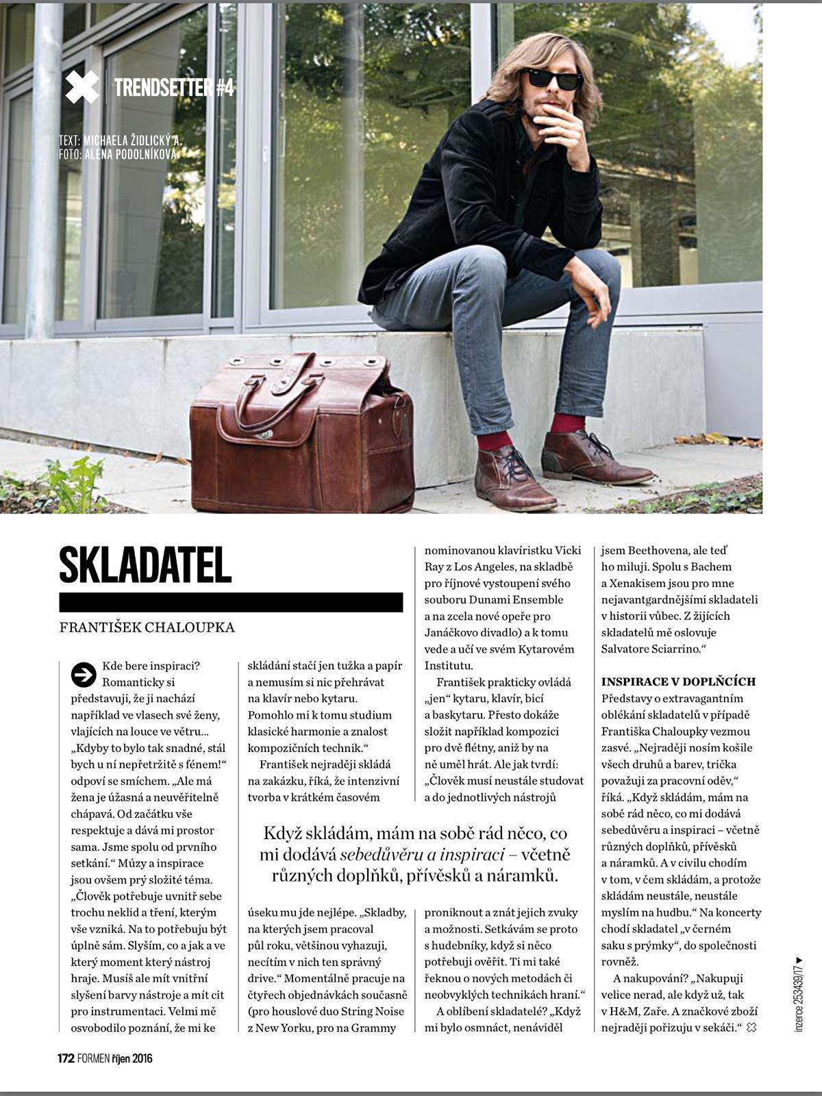 music Composer interview magazine Fashion  trend Style portrait Frantisek Chaloupka luggage
