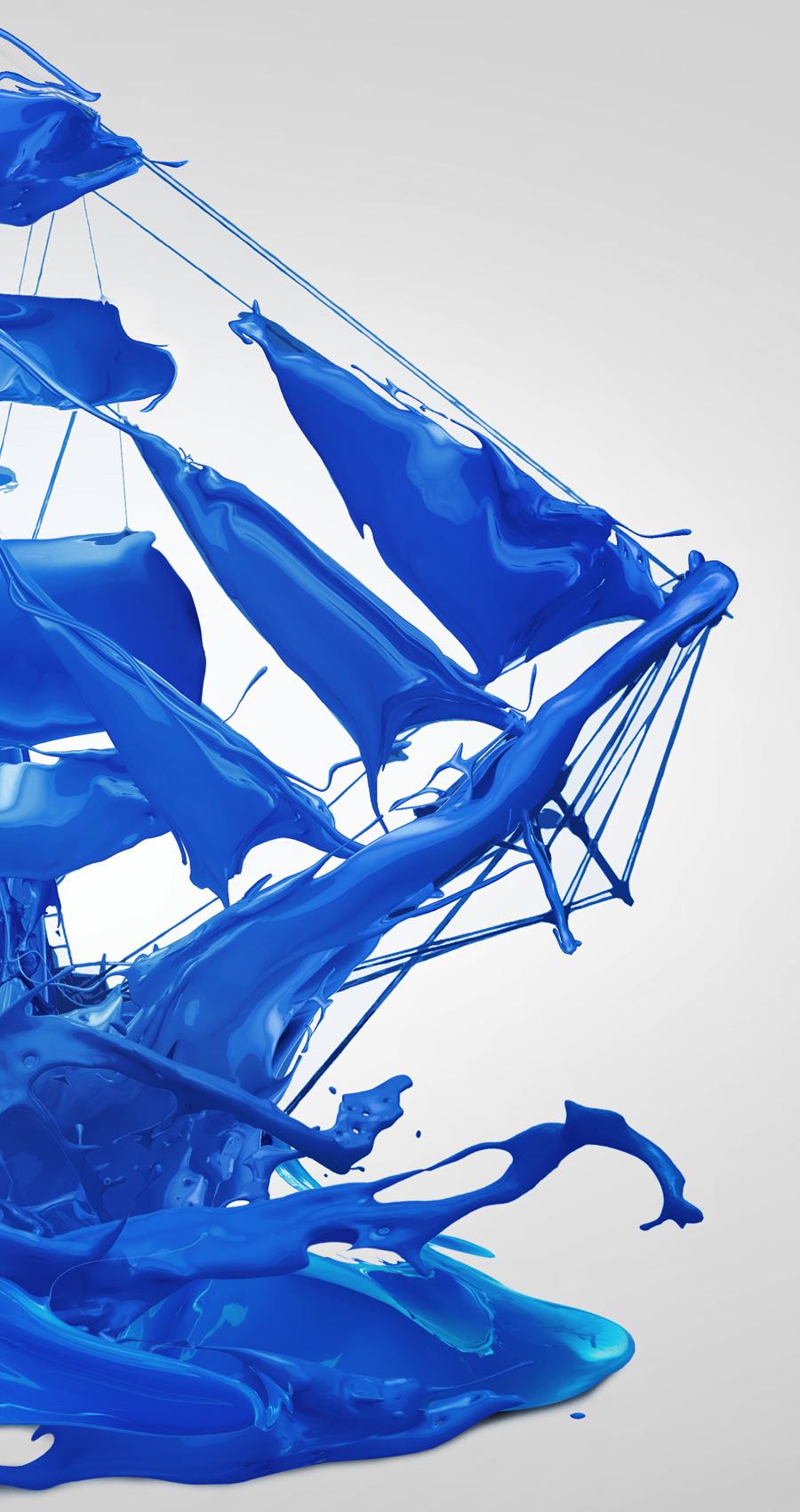 Sail  sails sailing ship sea blue paint oil paint jakarta indonesia journey