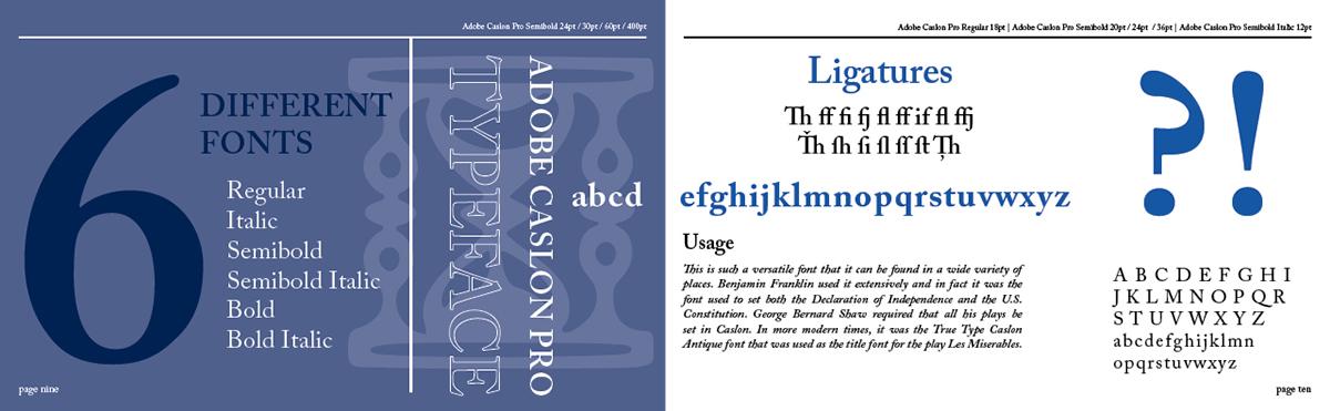 Adobe Caslon Pro - Type Specimen Book on Behance