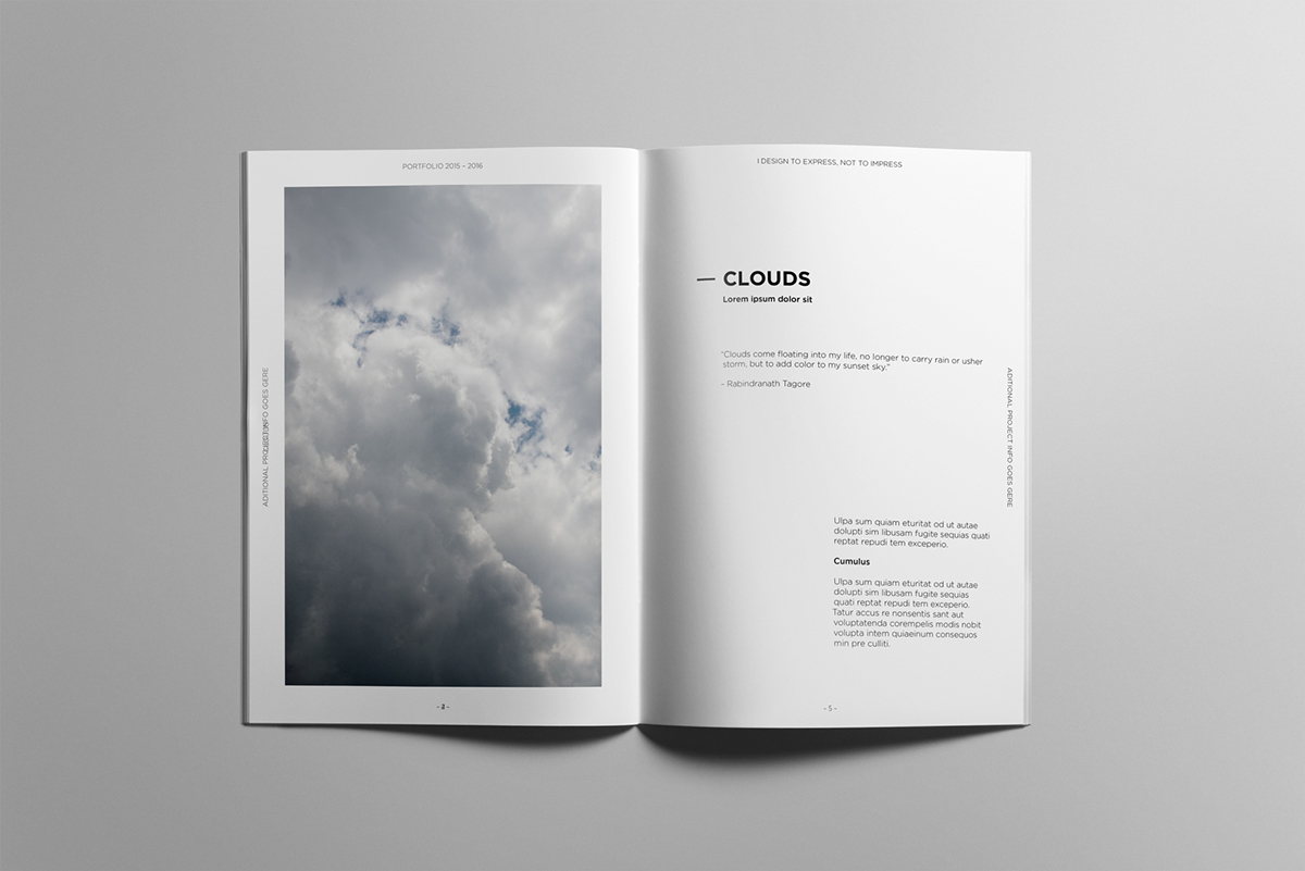 Minimalist portfolio book on behance for Indesign interior