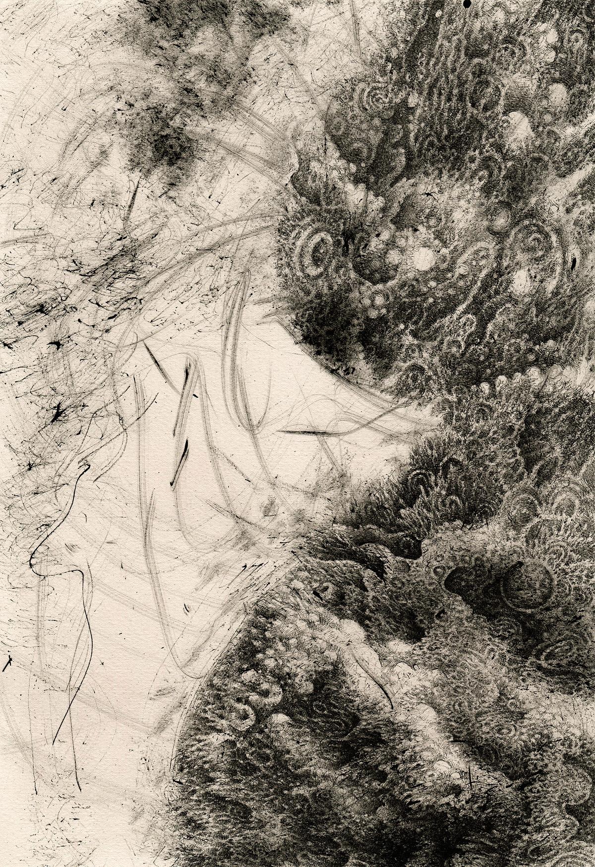 ink dip pen nib pen black & white artwork abstract detailed