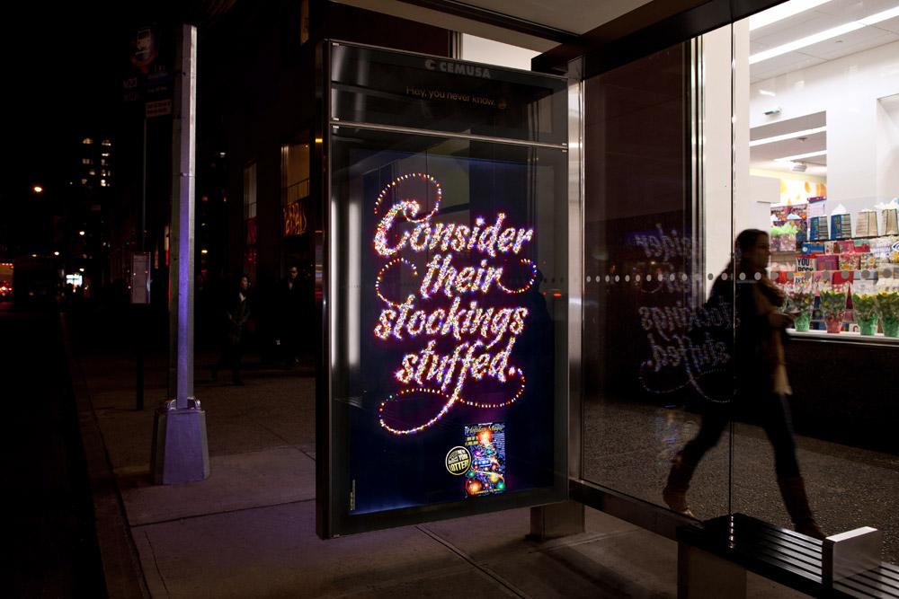 creative lettering print ad installation lights 3D Type photorealism Christmas holidays shiny New York christmas light