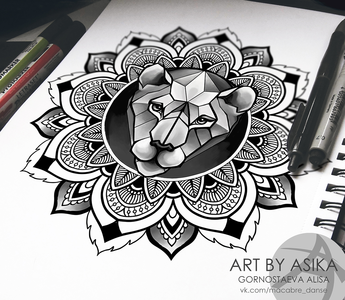 lion in mandala tattoo sketch  ornamental dotwork on behance Family Clip Art Black and White School Clip Art Black and White