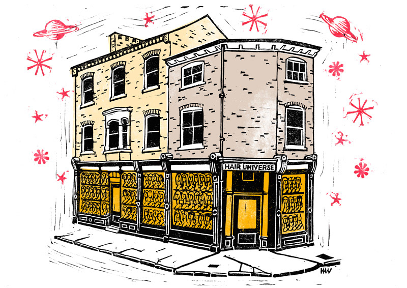 Linocut of York shopfront
