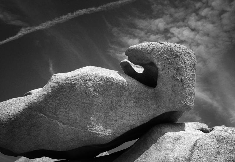 Nature brittany sea shore stones Mystic black & white