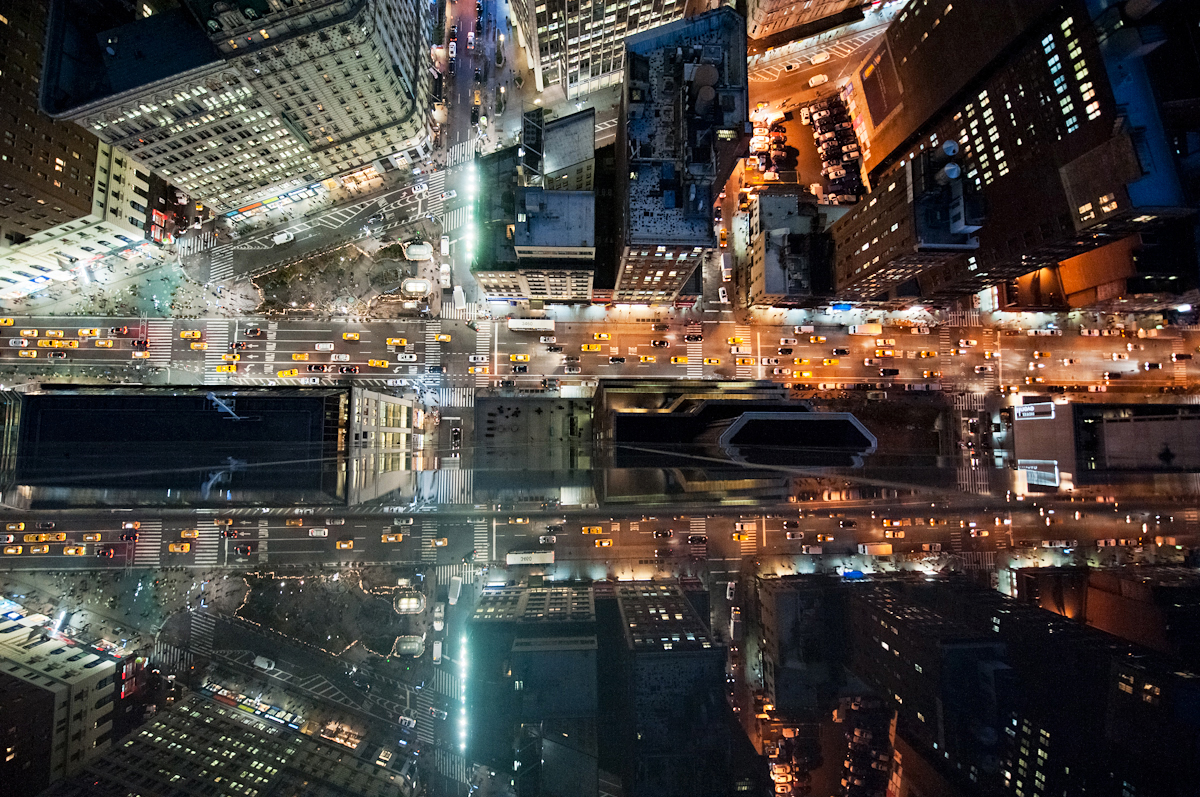 intersection nyc new york city above Aerial Street city cityscape vertigo Manhattan night line angle rooftop