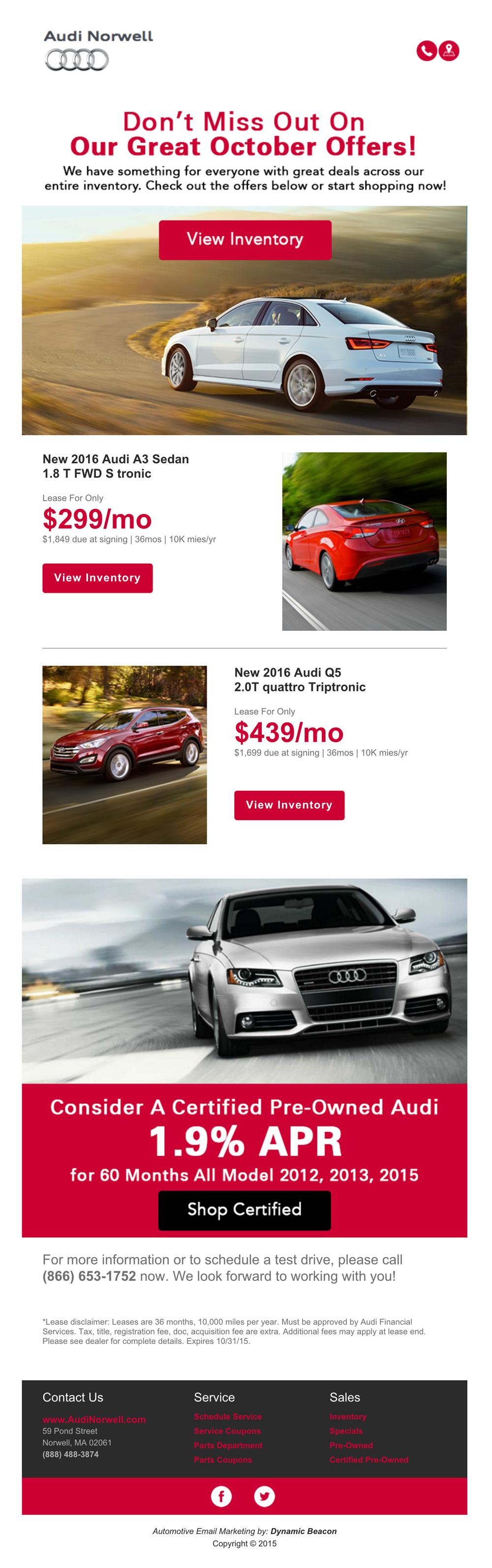 Audi Norwell Email Blast On Behance - Audi norwell