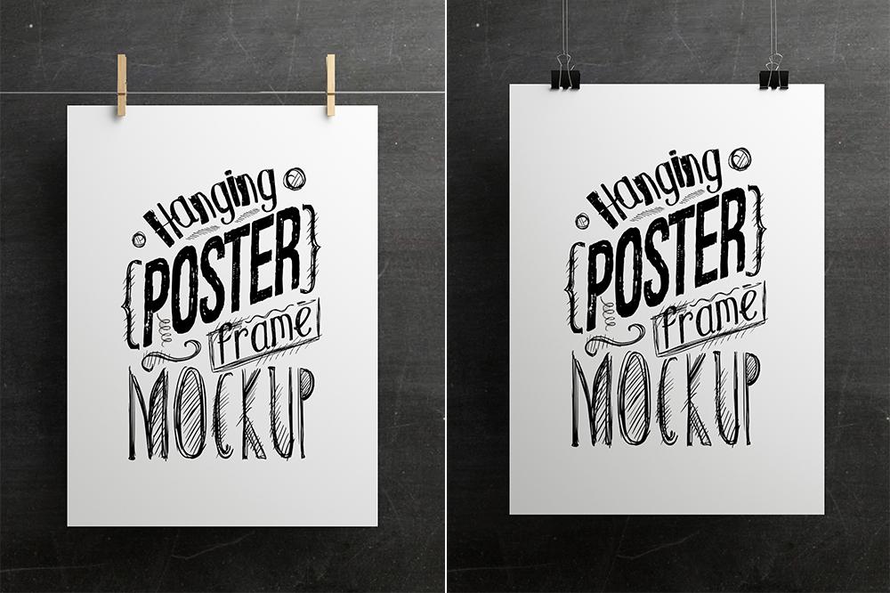 Mockup mock-up poster frame realistic hanging hanger hanger style frame mockup hanging mockup mockup psd Poster wall poster photoshop mockup behance