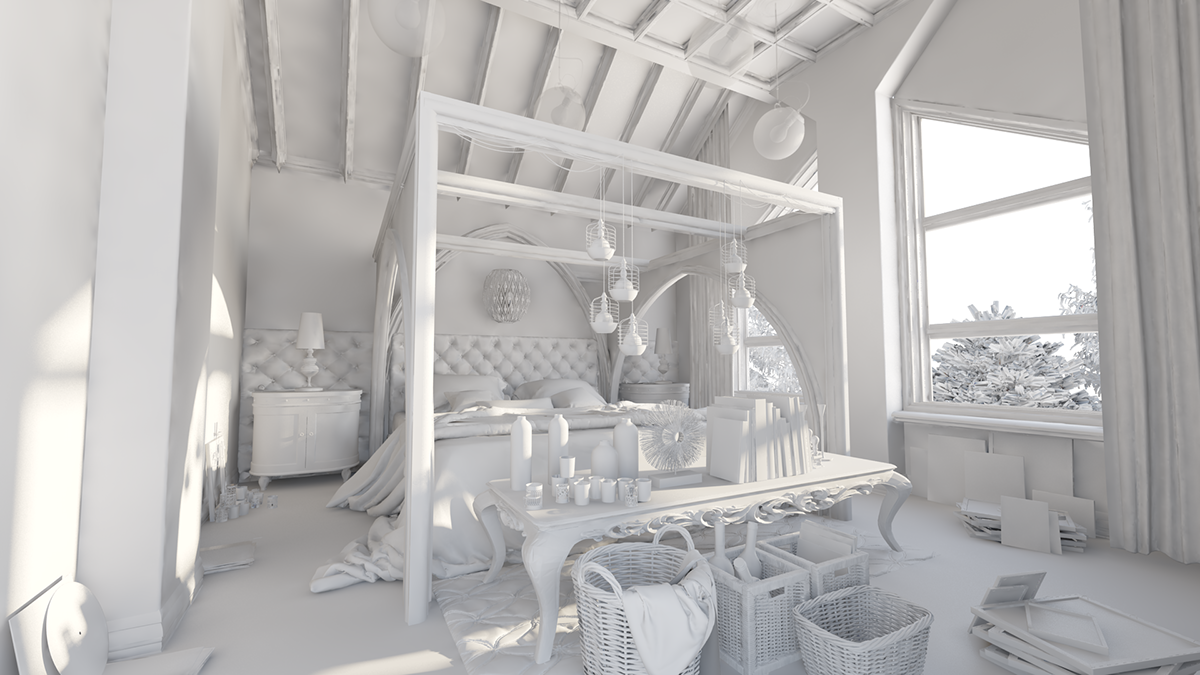 GOTHIC STYLE BEDROOM WITH MODERN ELEMENTS. DAY TIME CLAY RENDER AND FINAL  RENDER WITH POST PRODUCTION.