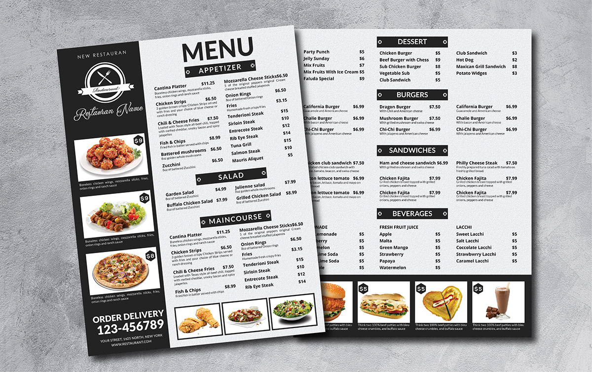 Restaurant Menu Design On Mica Portfolios