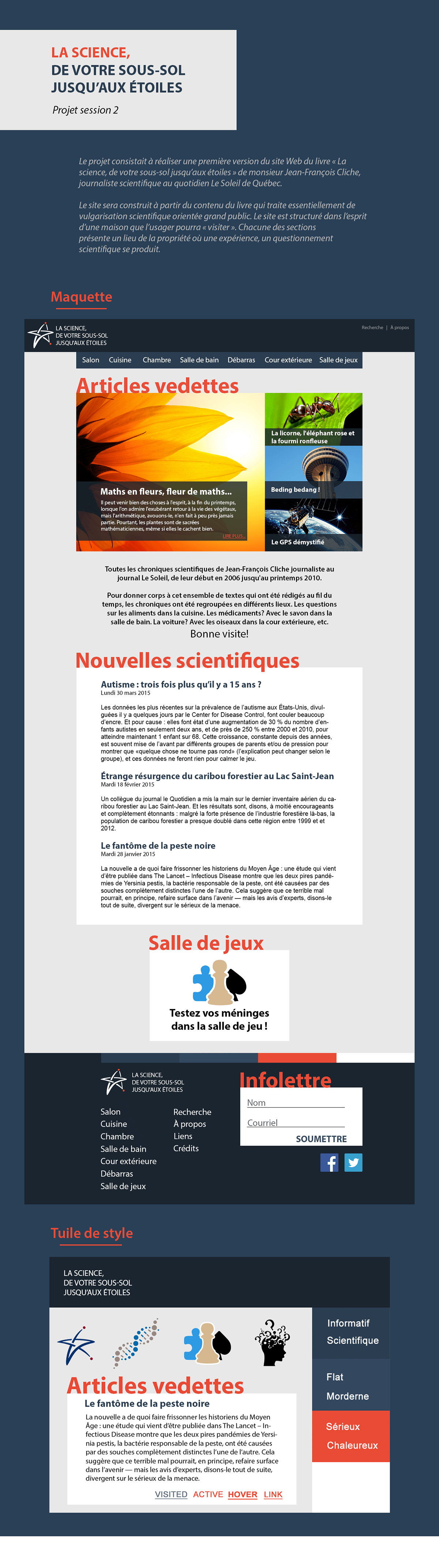 science étoiles Interface Web Responsive design