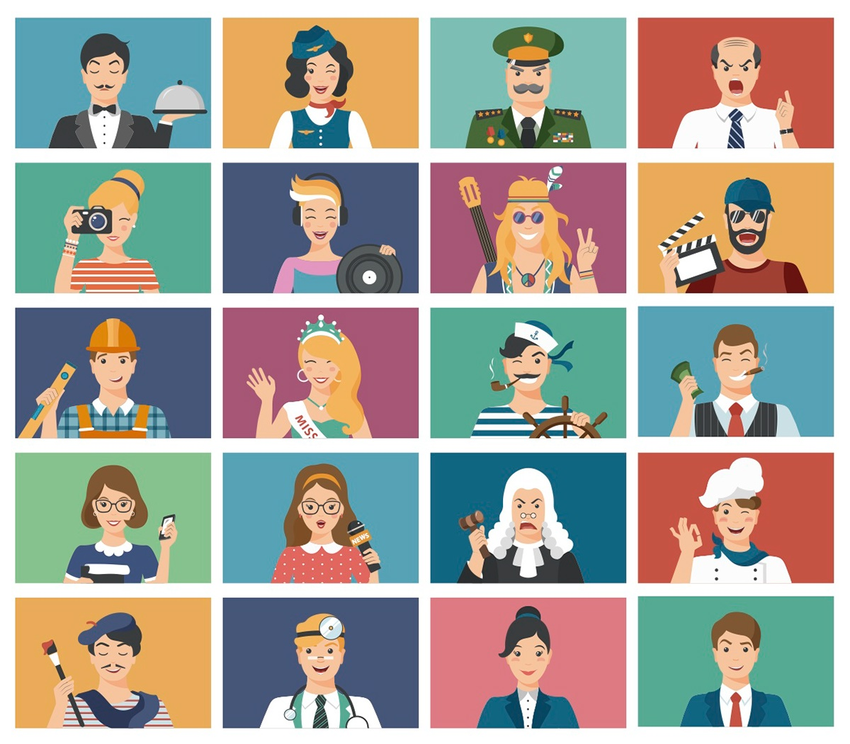 avatar flat vector profession people portraits doctor adobe illustrator Illustrator illusration