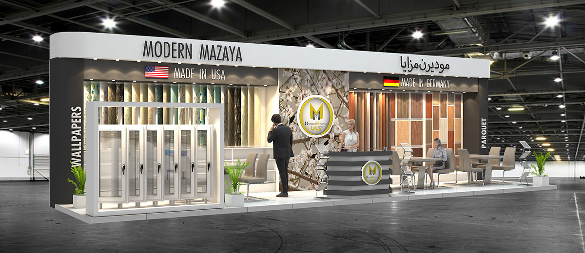 Modern Exhibition Stand Goal : Modern mazaya exhibition stand design for index on behance