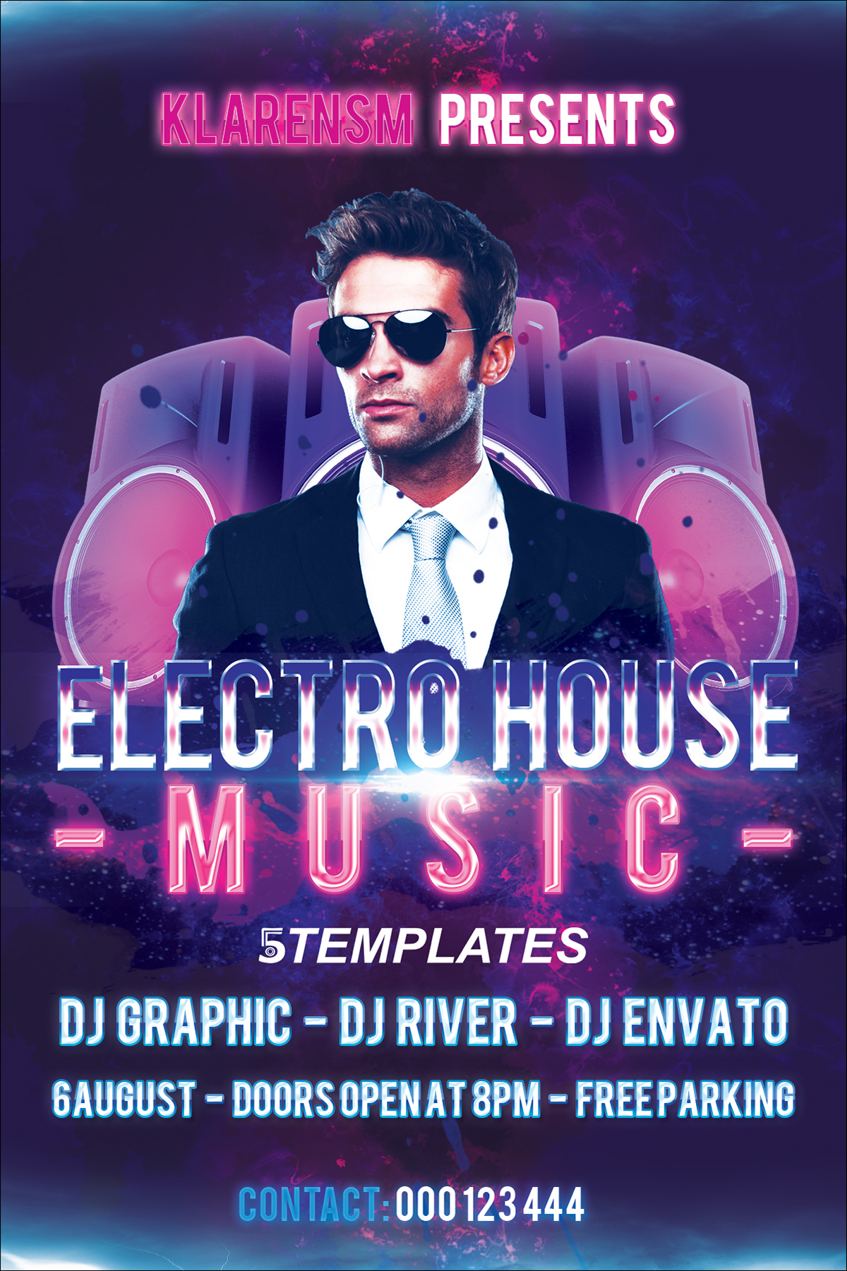 Electro House Music Flyer Free Psd Template On Behance