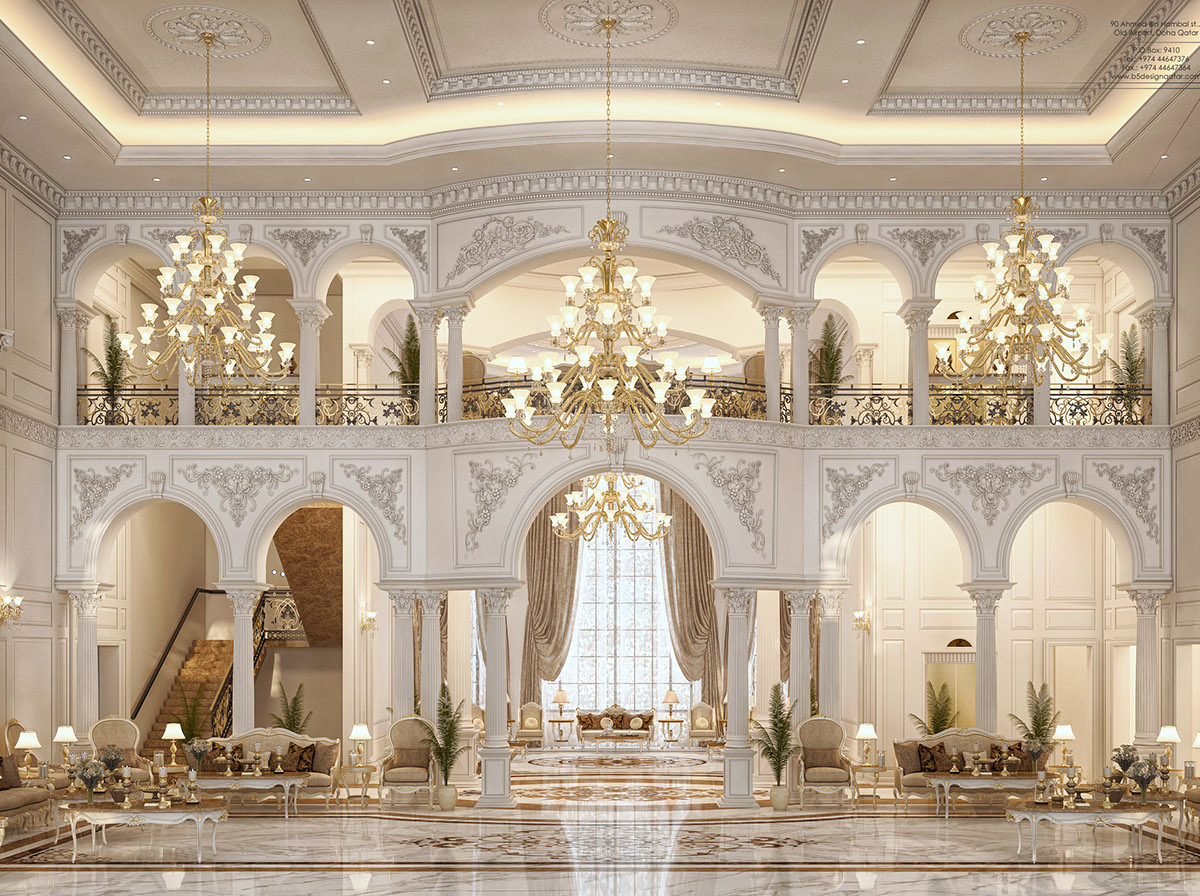 Main Hall design for a private villa at doha-qatar on Behance