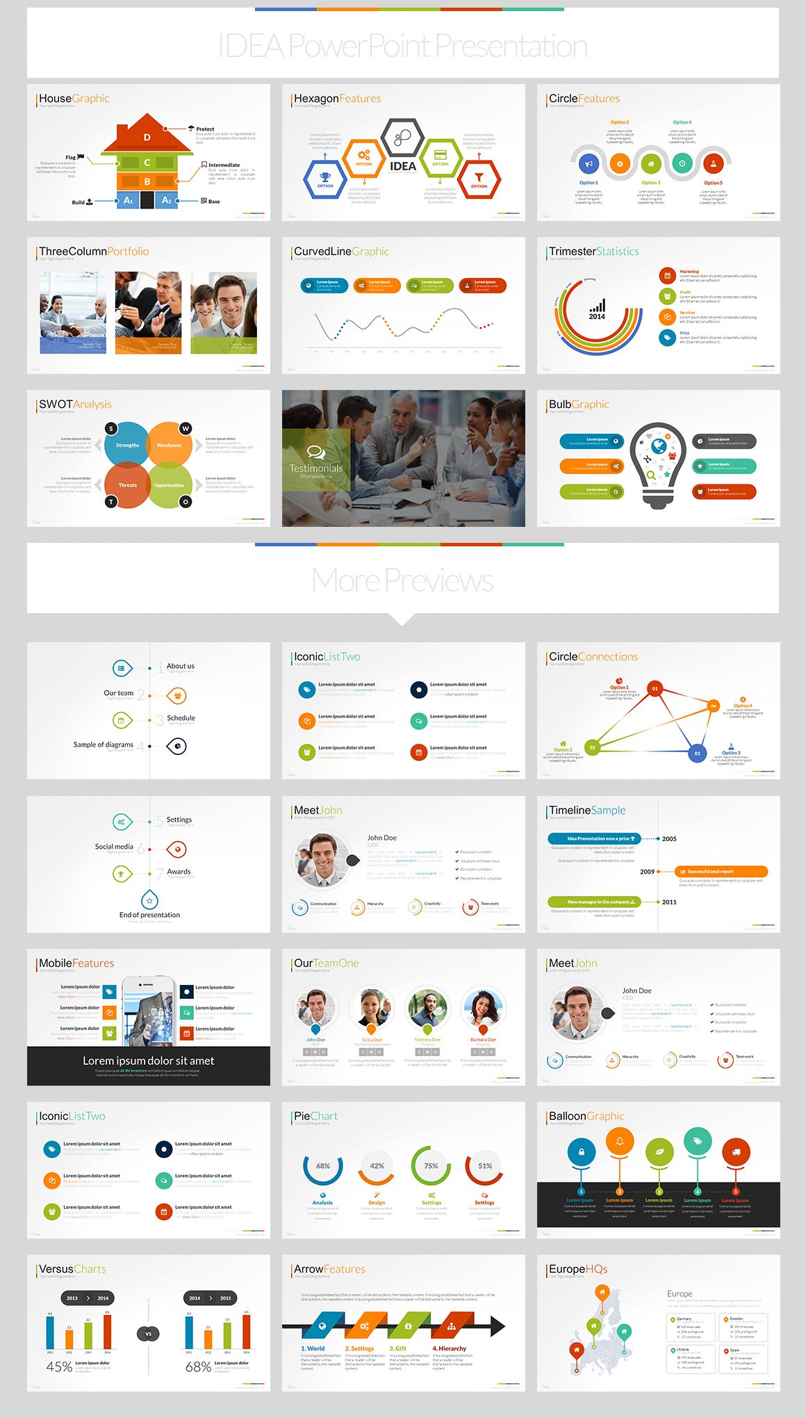idea flat powerpoint presentation template on behance, Idea Presentation Template, Presentation templates