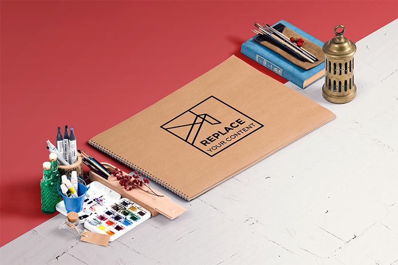 Isometric art equipments scene Generator mock up free psd presentation template showcase artwork sketch watercolor oil paint