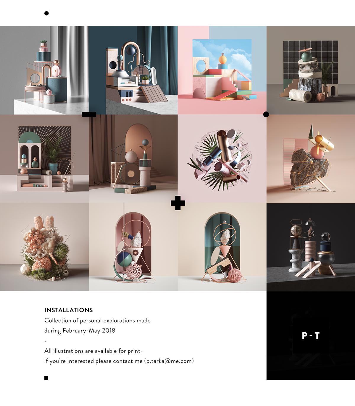 set 3D CGI c4d ILLUSTRATION  modern installations renedr studio abstract