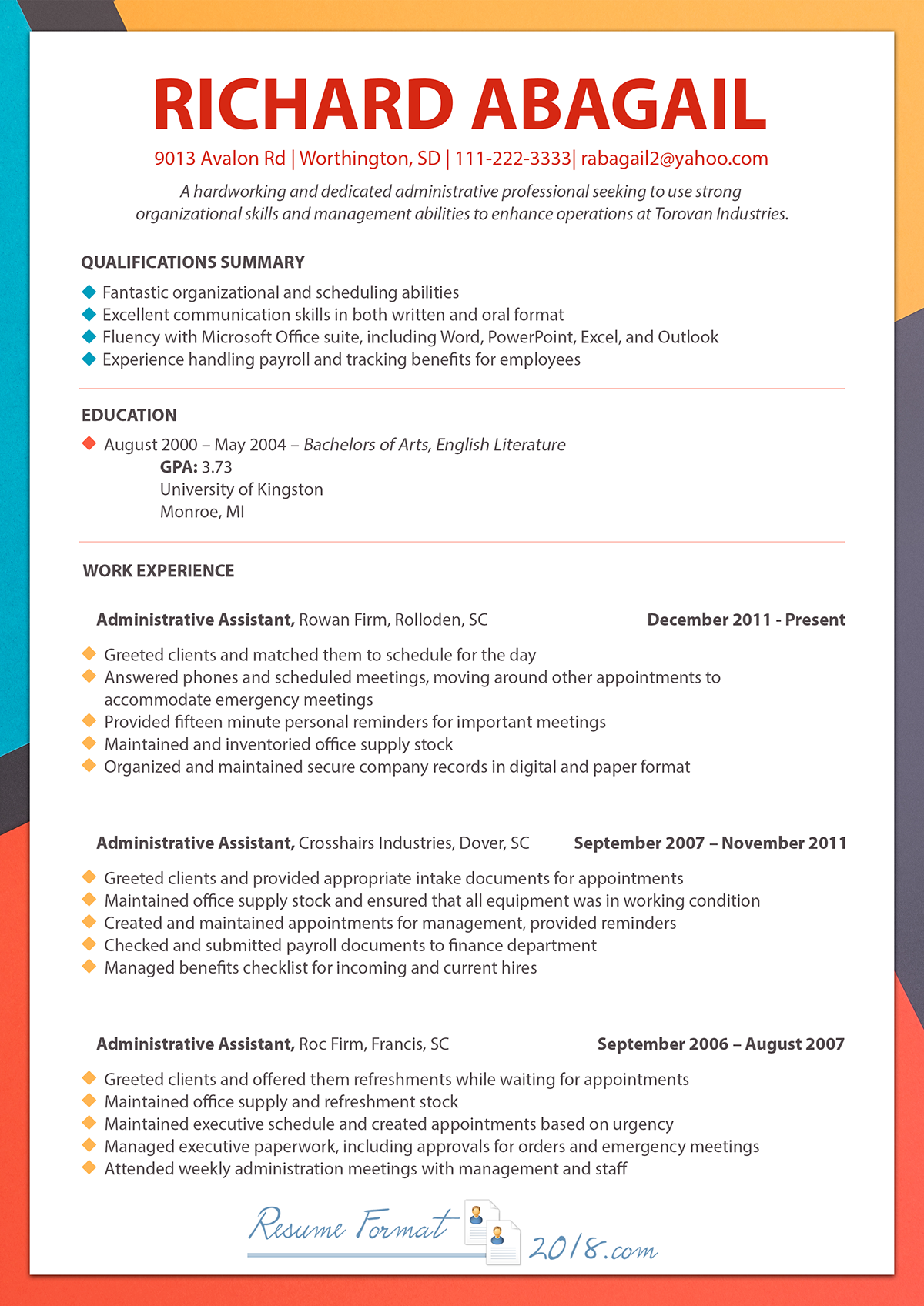 Resume 2018 Format.Chronological Resume Template 2018 On Pantone Canvas Gallery