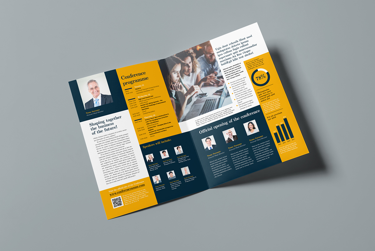 bifold conference brochure template on behance