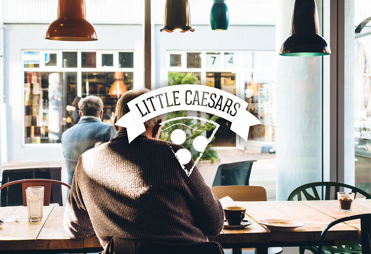 Little Caesars restaurant Rebrand deliverables business card letterhead envelope kraft paper