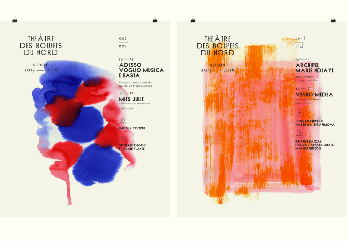 Bouffes du Nord Theatre colour red blue font type aquacolor ink green yellow