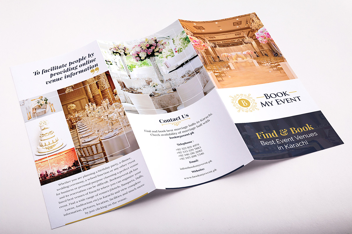 tri fold brochure for event management company on student show