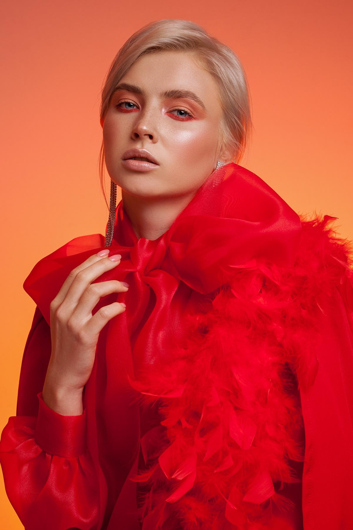 beauty red portrait Fashion  vogue editorial