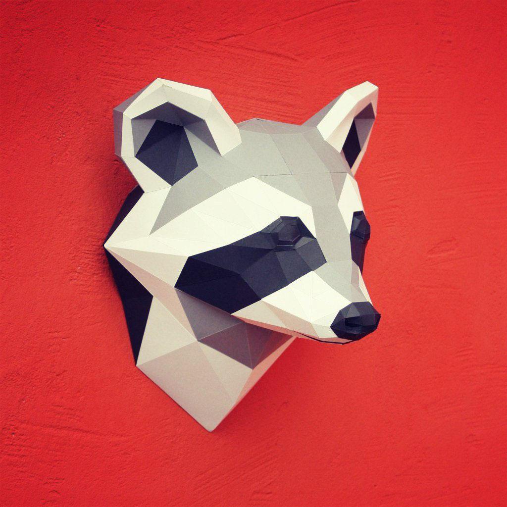 Papercraft raccoon head on behance jeuxipadfo Image collections