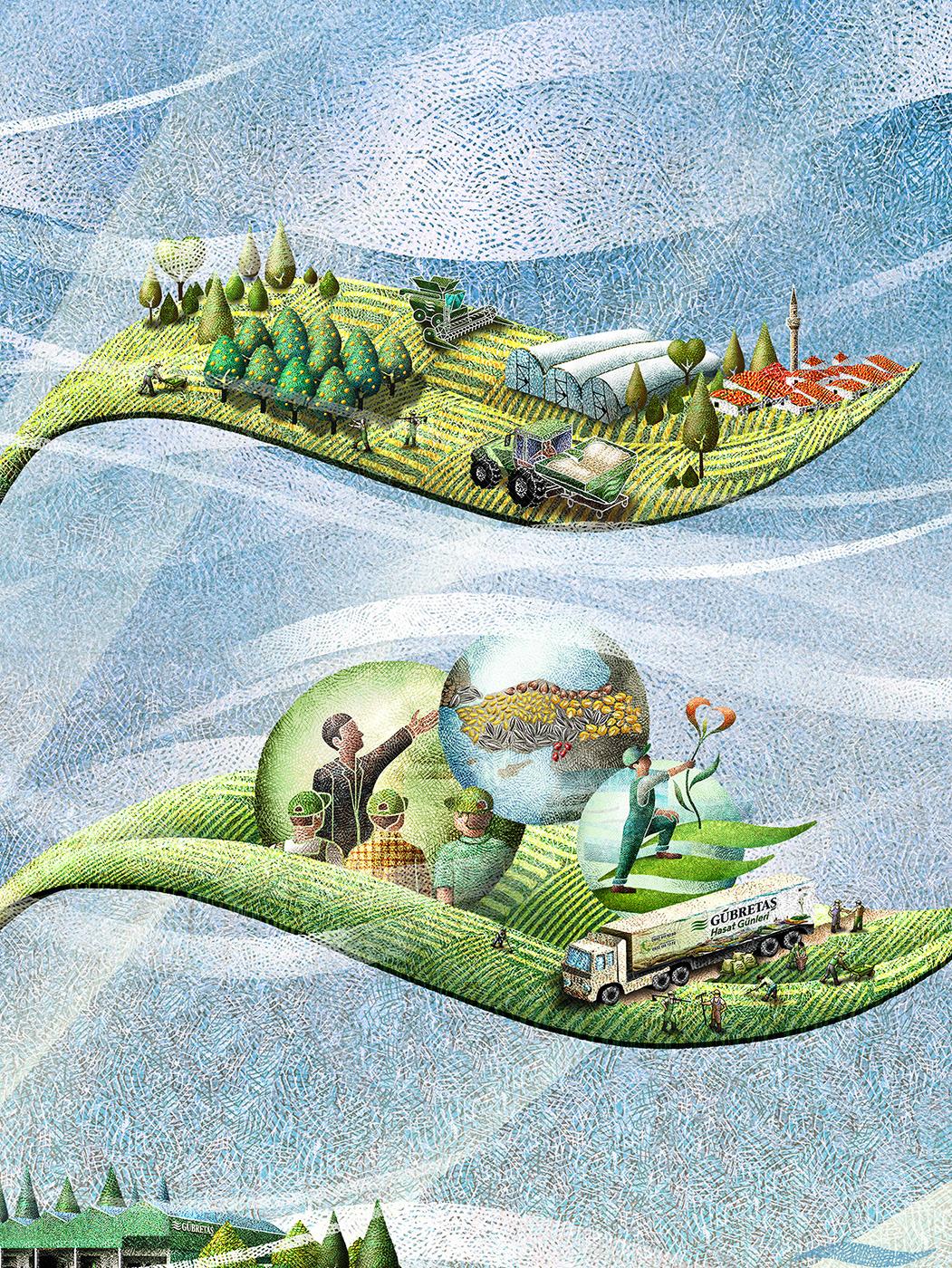 agriculture brand illustration corporate illustration crops fertilizers Love Nature Turkey