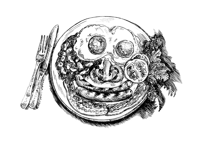 ink artwork english breakfast Food  top view Drawing  traditional ILLUSTRATION