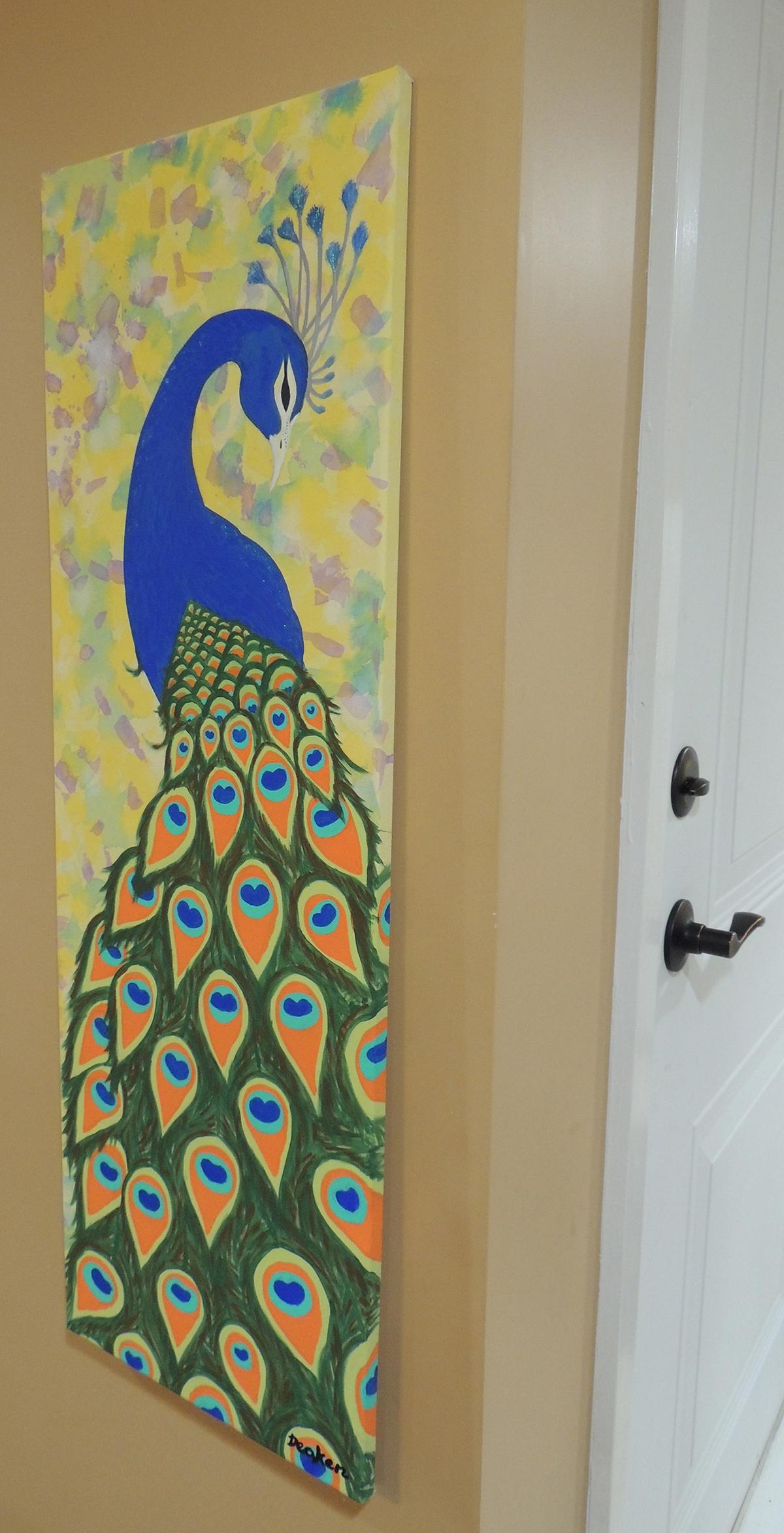 peacock acrylic painting on behance