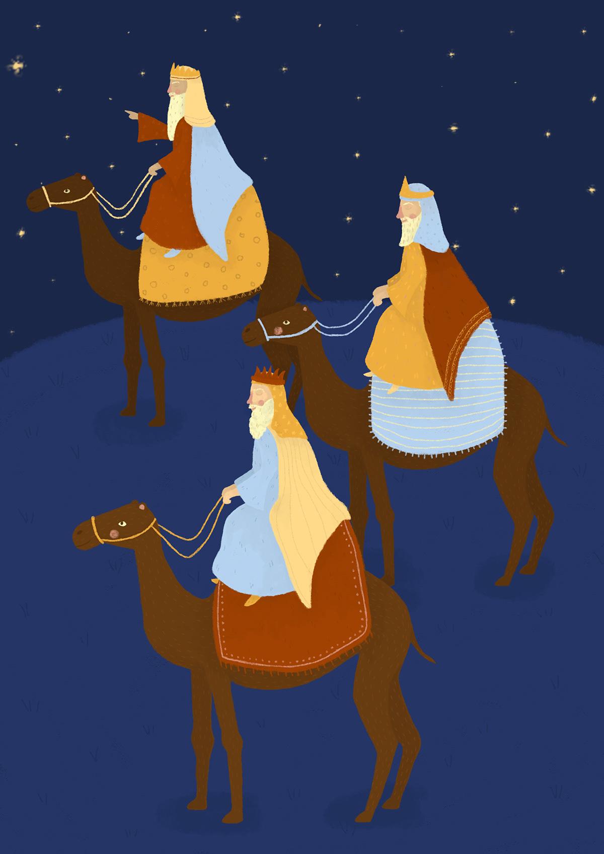 Christmas festive card design Greetings card christmas cards angel Wise Men stable nativity shephard