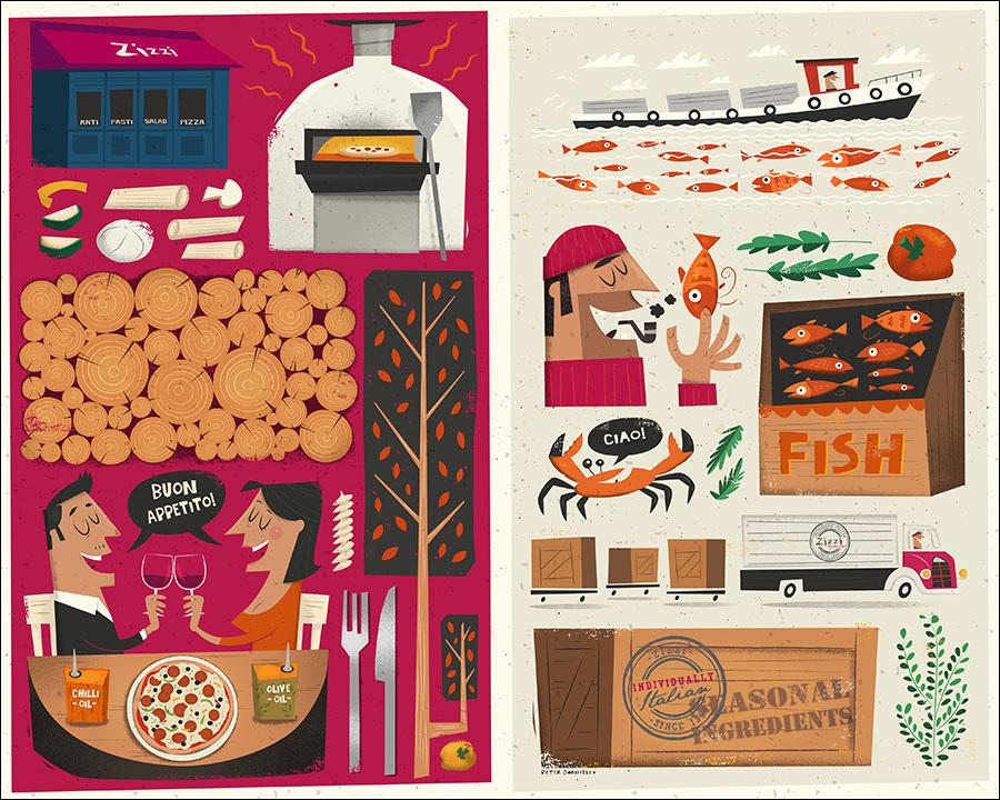 Adobe Portfolio Zizzi restaurant menu beverage fish farm Italy kitchen cooking Pizza dining midcentury Retro Food  vegetables