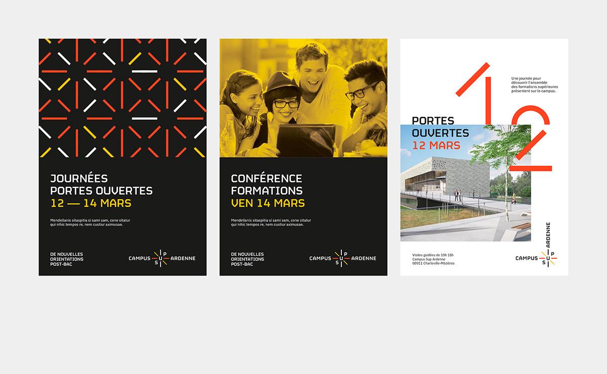 University branding  minimalist orange yellow black student campus territory higher education