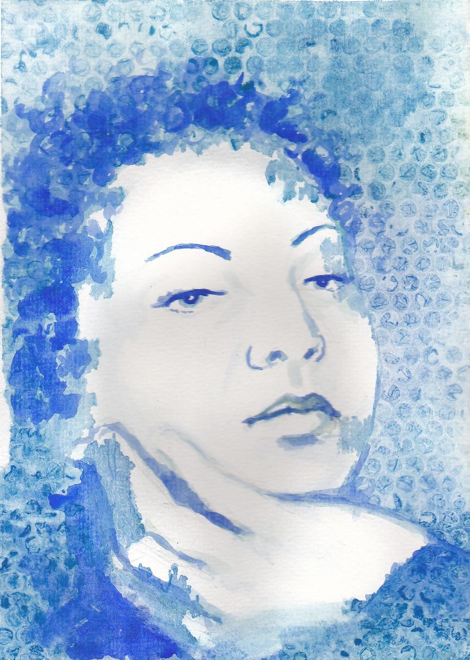 watercolor pastel pen wax portraits people