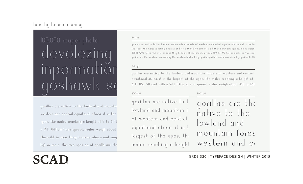 Boni – Typeface Design on SCAD Portfolios