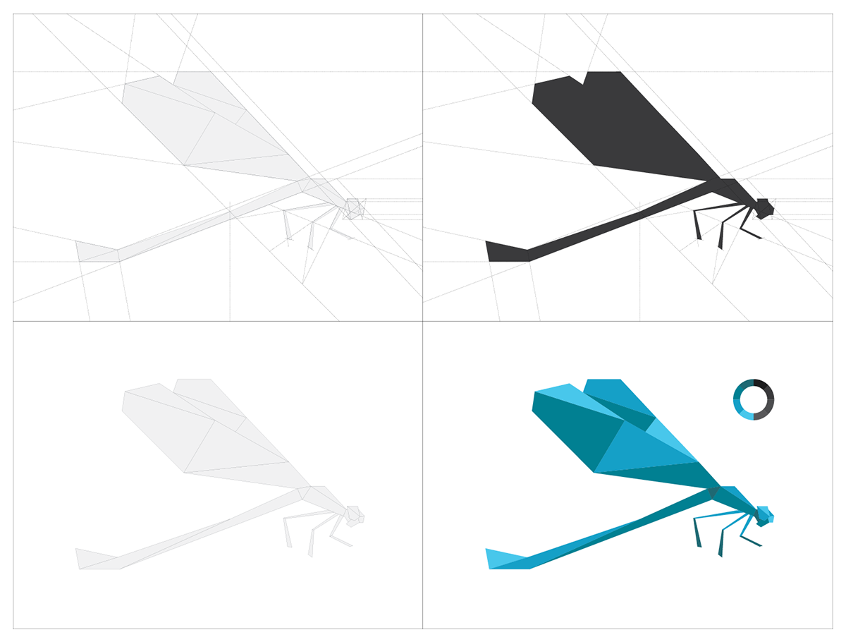 Dragonfly brand identity 3d model on behance with the idea of using the shape of the dragonfly and the art of origami i made myself the concept of my logo yay lets check it out jeuxipadfo Image collections