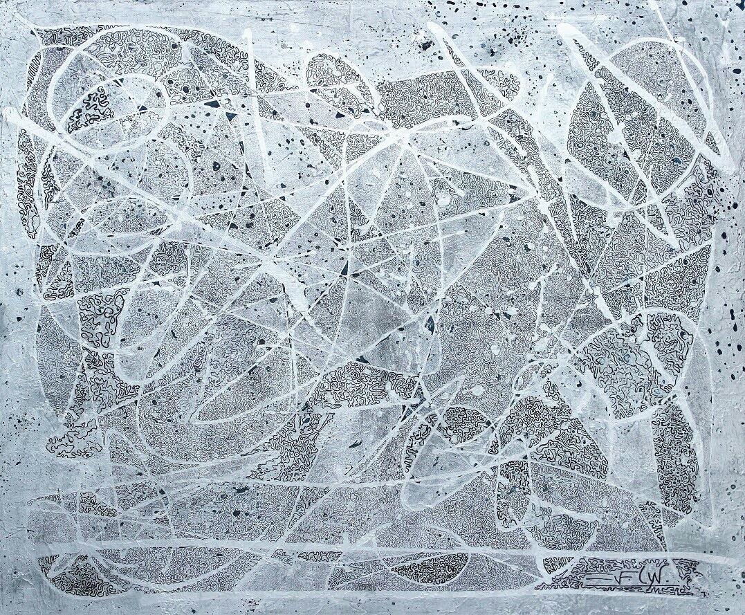 geometrico 80x80 cm. mixta sobre tela.