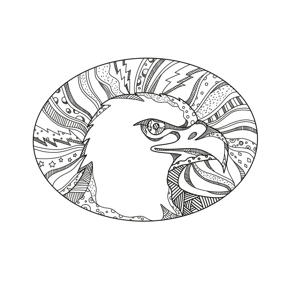 Bald Eagle Head Doodle Art On Behance